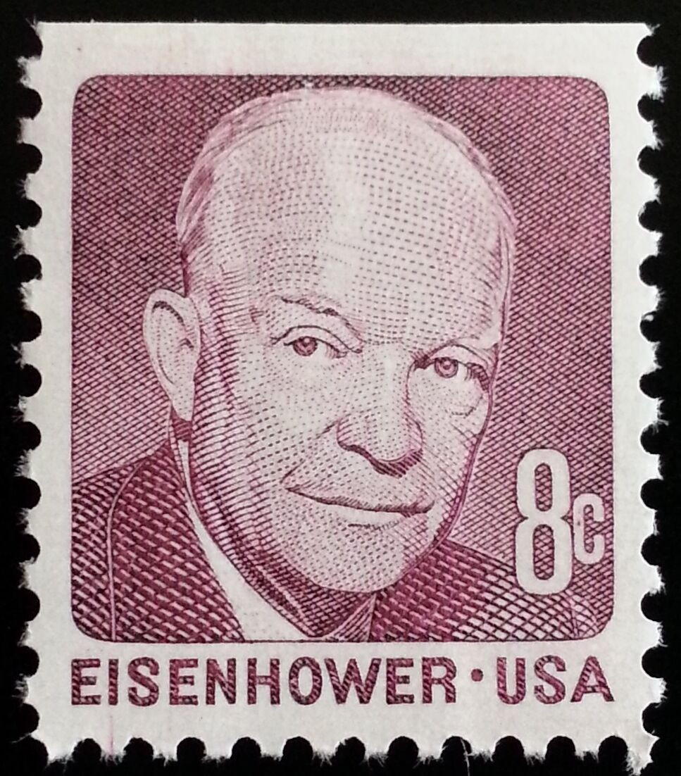 1970 8c Eisenhower, Booklet Single, Deep Claret Scott 1