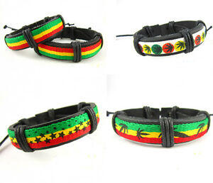 Men Women Popular Hot Jamaica Reggae Bob Marley Rasta Hiphop Leather Bracelet