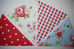 Rosali-White-and-Blue-amp-Red-Polka-Dot-Blue-Gingham-fabric-bunting-Cath-Kidston