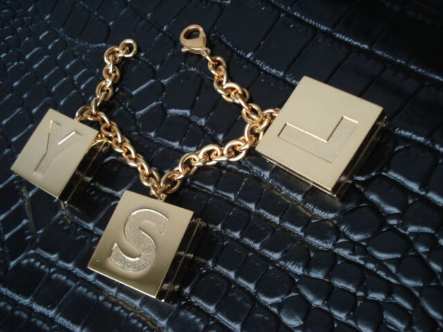 d616d942862 Authentic YSL Yves Saint Laurent Charm Bracelet Pendant Vintage Gold Color  for sale online | eBay