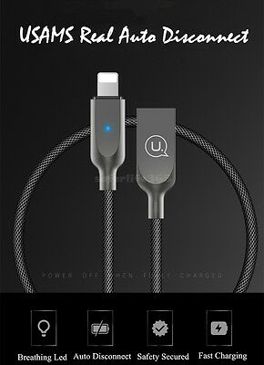 USAMS Smart LED Auto Disconnect Lightning USB Fast Charging Cable Fo iPhone 6s 7