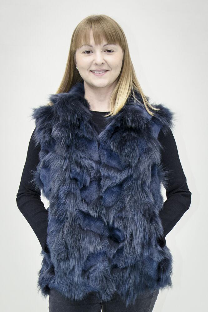 "Sale  Adrienne Landau 27"" Indigo Fox Fur Sections Pieced Vest, sz 4-6"