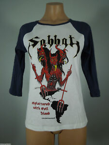 SABBAT-Splattered-Evil-White-GIRLIE-Raglan-Tee-Blue-Sleeves-L-R-I-P-Records-NEW