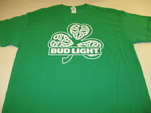 **NEW BUD-BUD LIGHT SHIRT PAT/'S! GOOD LUCK-GREAT BEER GREEN MEN/'S LARGE ST