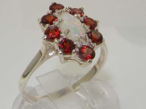 Luxury 14K White gold Womens Fiery Opal & Garnet Cluster Ring