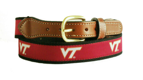 VIRGINIA TECH Mens Adult Leather Canvas Embroidered Ribbon Belt />/> pick size NWT