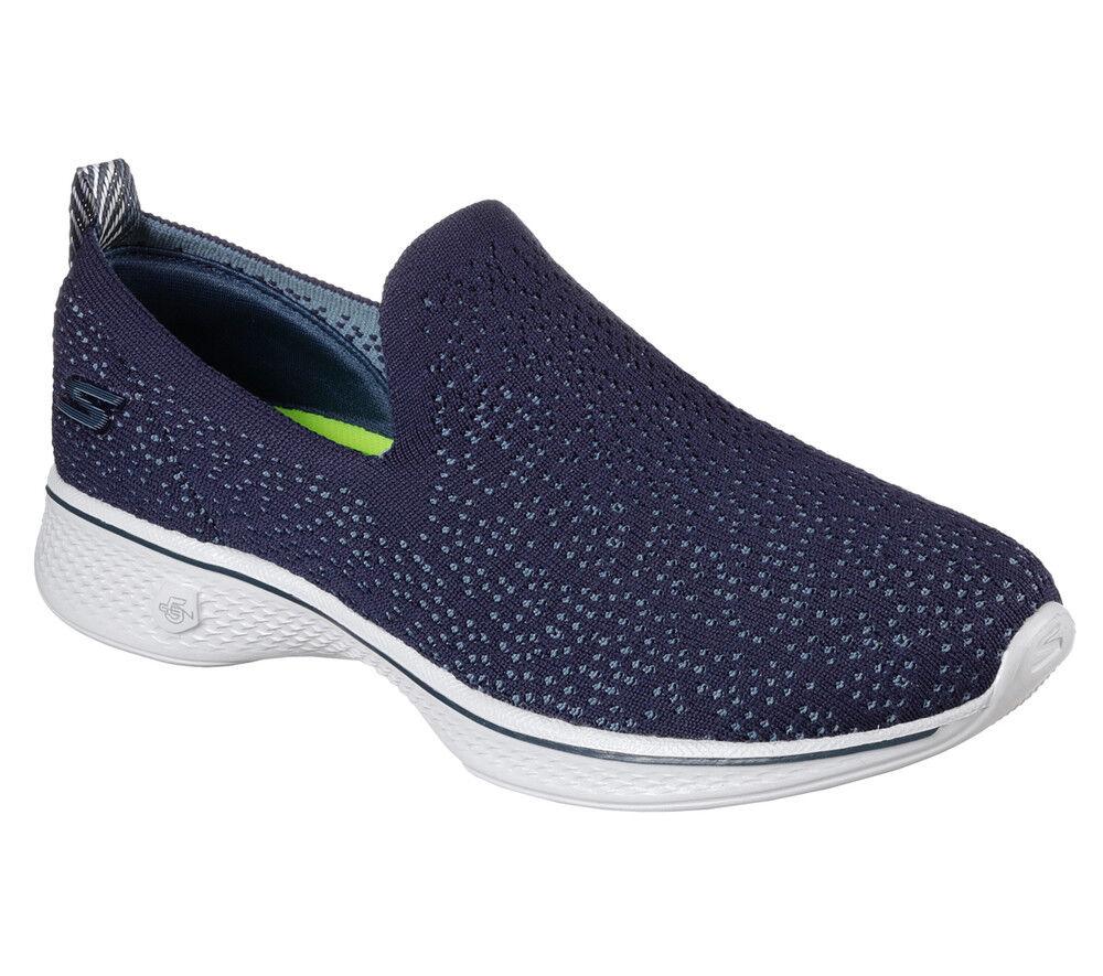 NUOVE Skechers Scarpe da ginnastica Donna Slipper Mocassini Leggeri Go Walk 4-dotato Blu | Design moderno  | Scolaro/Ragazze Scarpa