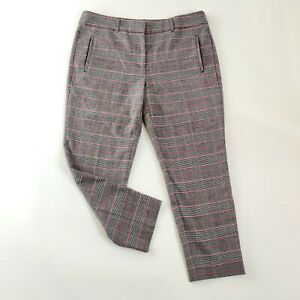 Hush-Multicolore-Gris-Plaid-Tartan-Style-Cropped-Tapered-Pantalon-Chino-Taille-14