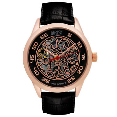 Croton Men's Automatic Open Heart Rose Gold Case Watch
