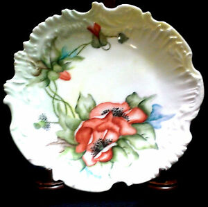 MARTIAL-REDON-RED-FLORAL-SNACK-PLATE-FRANCE-ANTIQUE-LATE-1800s-EUC