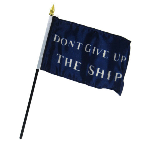 """Historical Commodore Perry Don/'t Give Up The Ship Flag 4/""""x6/"""" Desk Table"""