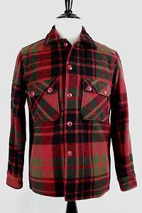 VTG-1950s-Woolrich-Woolen-Mills-Red-Black-Green-Plaid-Mothproof-Mackinaw-Jckt-42