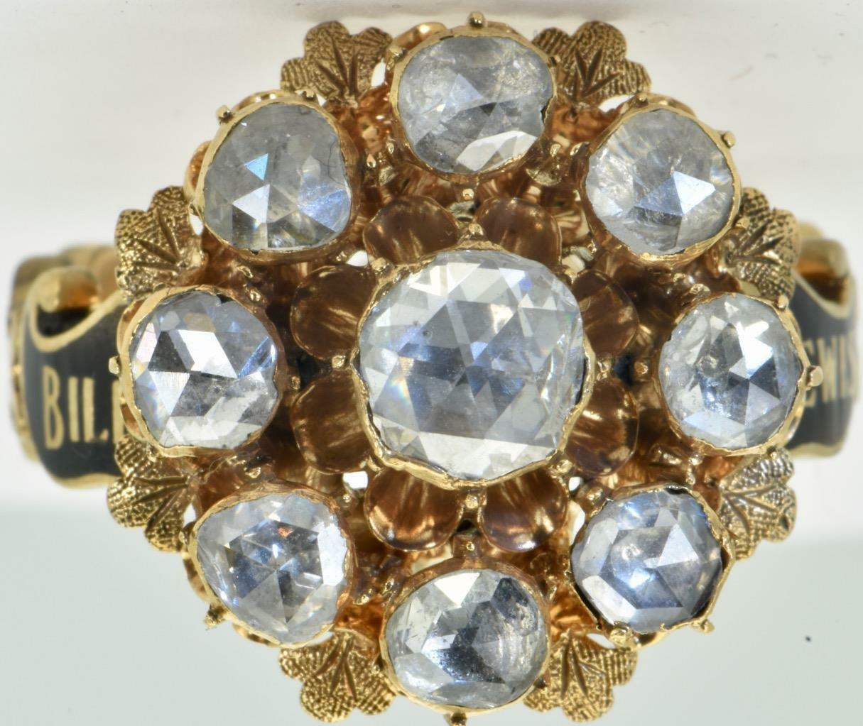 ONE OF A KIND antique Georgian 18k gold,Enamel&3ct Diamonds Mourning Ring c1752