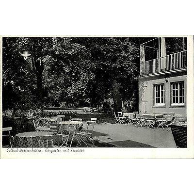 Solbad Westernkotten s/w Ansichtskarte ~1955 Partie im Kurgarten mit Terrasse