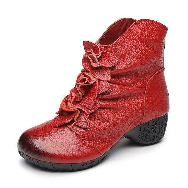Women Retro Low Heel Floral Cotton Lined Ankle Boots Zipper Soft Leather shoes
