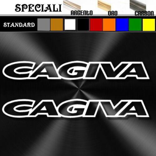 coppia adesivi sticker CAGIVA outline decal  prespaziato,moto,casco 19,5cm
