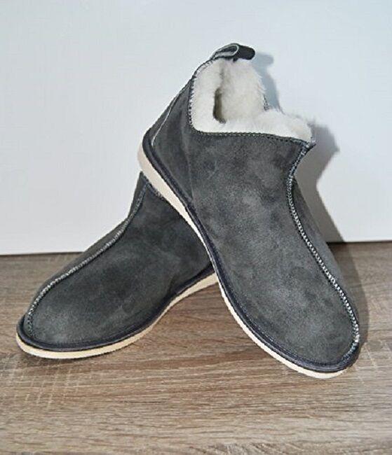 Merino Wool Natürliches Leder Grau Wolle Kuschelig Fuß Hausschuhe Stiefel Salee