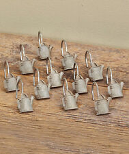 GARDENER WATERING CAN PRIMITIVE SHOWER CURTAIN HOOKS BY LINDA SPIVEY 12 CT NEW