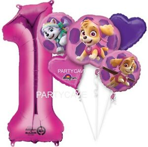 Image Is Loading PINK PAW PATROL 1ST BIRTHDAY PARTY HELIUM FOIL
