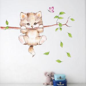 Details zu Wandtattoo Katze Cat Kinderzimmer süß Mädchen Junge Tiere  Aufkleber Sticker Baum