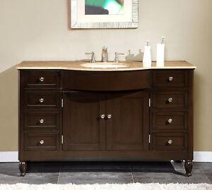58 Inch Travertine Top Bathroom Single Sink Vanity Large