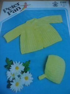 GéNéReuse Vintage Wendy 4 Plis Tricot Motif Bébés Matinee Cardigan Et Bonnet 18 - 22 In (environ 55.88 Cm)-afficher Le Titre D'origine