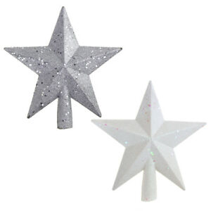 Glitter-Star-Plastic-Christmas-Tree-Topper-White-Silver-8-Inch-2-Piece