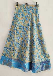 Women/'s Skirt Silk Reversible Wrap Around Layered Multicolor Long Bohemian Skirt