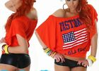 ♥ Lässig Damen Flatter Arm T Shirt Top US Flagge Vintage Print 34/36/38 orange