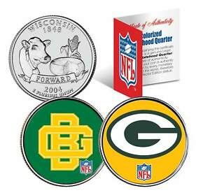 GREEN-BAY-PACKERS-Retro-amp-Team-Logo-Wisconsin-Quarters-2-Coin-Set-NFL-LICENSED