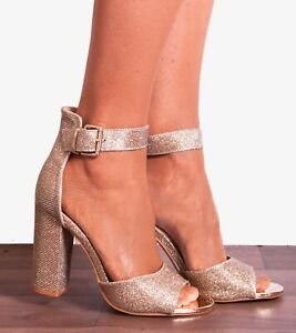 Metallic Block Heeled Rose Zu Shimmer High Size Details Sandals Heels Strappy Glitter Gold eroxBCd