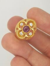 ESTATE 18K YELLOW GOLD ROUND DIAMOND & CABOCHON RUBY LADIES FLOWER CLOVER RING