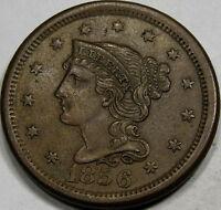 1856 Braided Hair Large Cent Choice AU+++... 100% Original, and So Very NICE!!!!