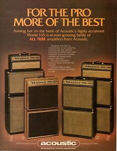 vtg 80s ACOUSTIC BRAND TUBE AMPLIFIERS MAGAZINE ADVERTISEMENT Pinup Guitar Bass