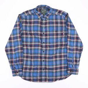 Vintage-WOOLRICH-Blue-Check-Flannel-Long-Sleeve-Shirt-Size-Men-039-s-Large