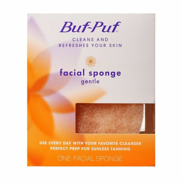Buf-Puf Facial Sponge Gentle Cleanse Skin Perfect Prep For Sunless Tanning