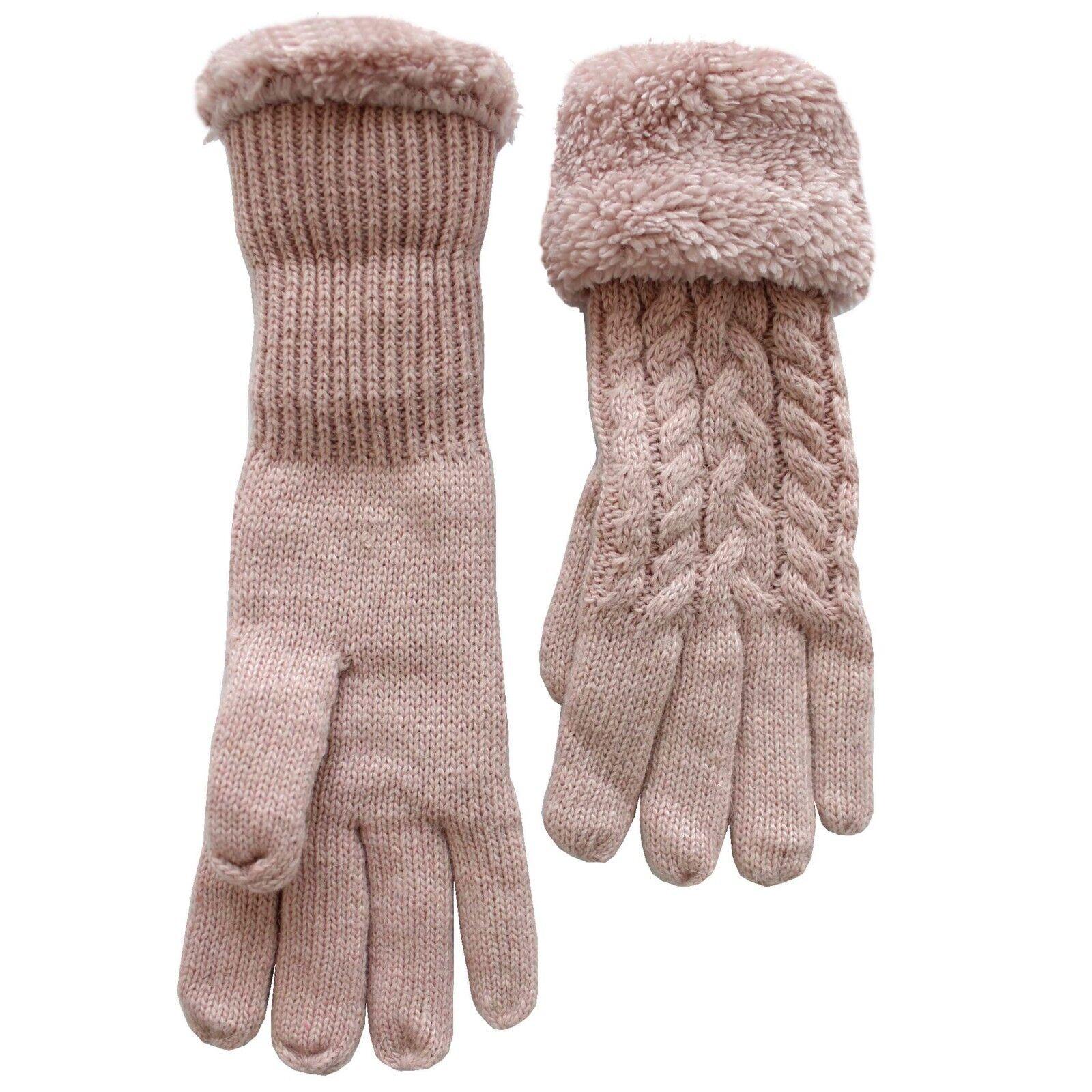 Handschuhe Frau Mischgewebe Wolle Zeigen Zopf Motiv