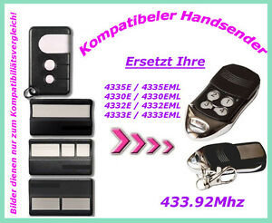 433 mhz handsender fernbedienung f r garagentor 4330e. Black Bedroom Furniture Sets. Home Design Ideas