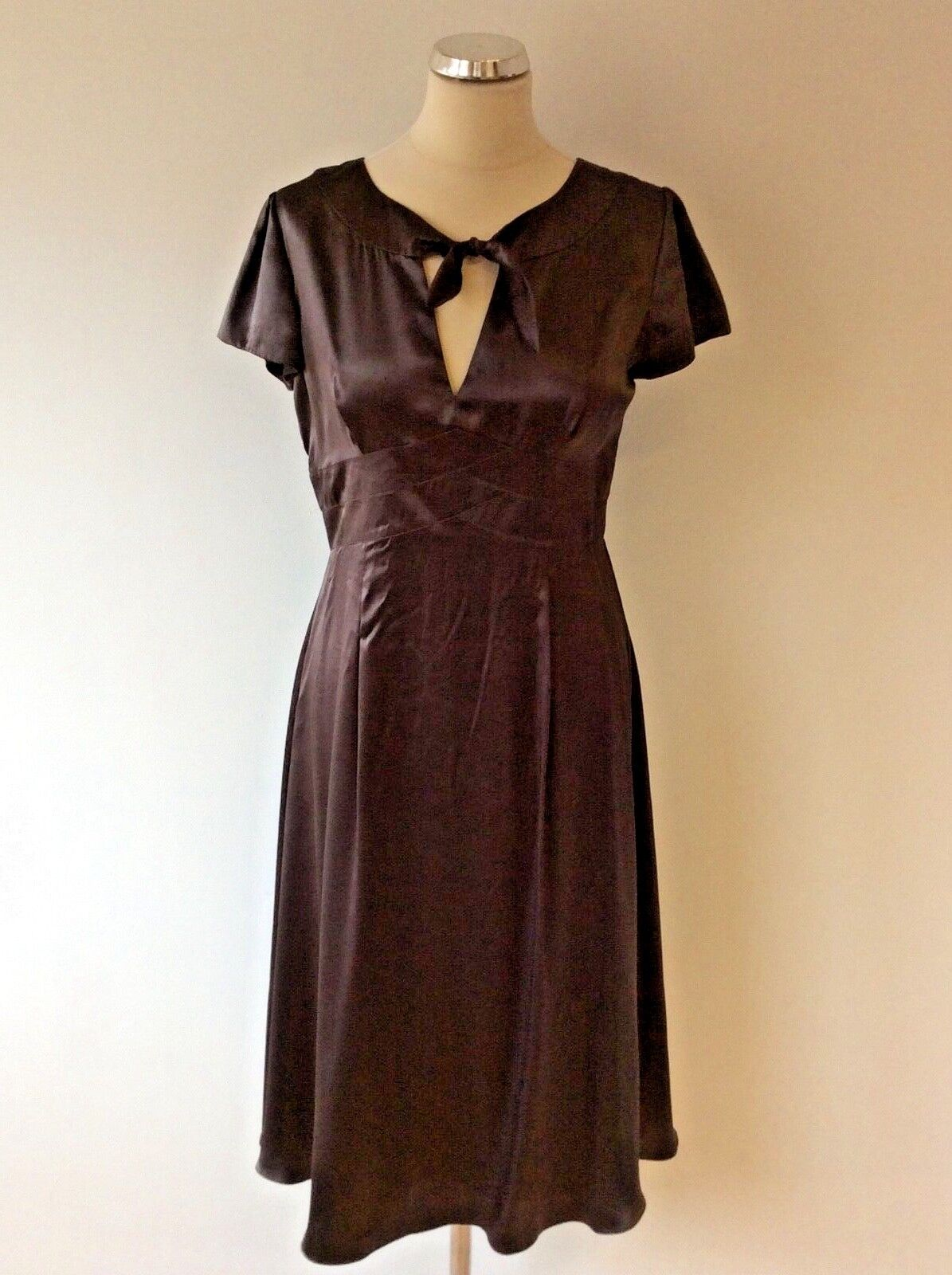 HOBBS Marron Silk cravate Front Cap hommeches Robe Taille 10