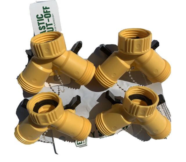 //////  Lot Of Two  ////  Expert Gardener Plastic Yellow Shut-Off Valves //// New  //////