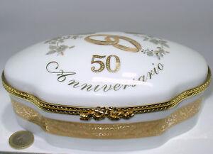Dettagli Su Nozze D Oro Regali Cofanetti Limoges Porcellana Francese Porta Gioie Svuotatasch