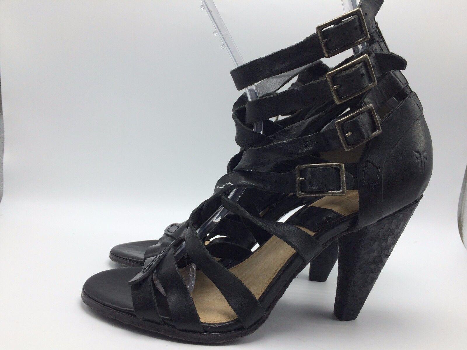 di moda 2A14 Frye Mika nero Heels Open Toe Toe Toe Back Zip  Leather donna scarpe Dimensione 10M  378  comprare a buon mercato