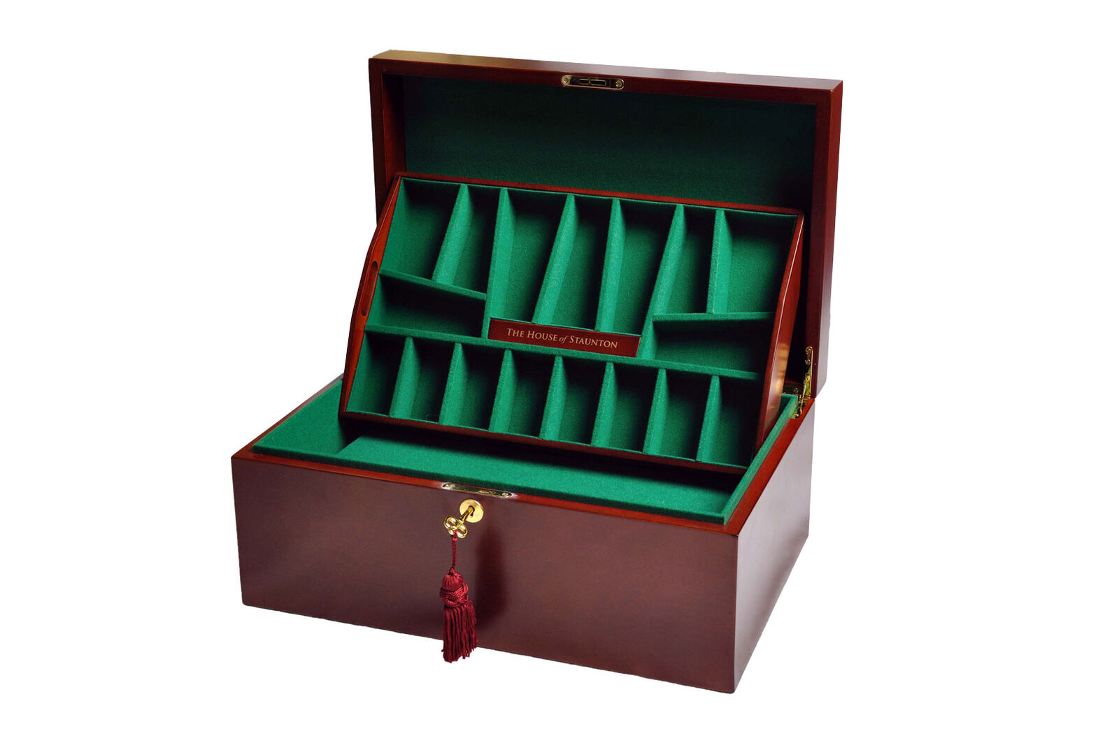 The House of Staunton Fitted Chess Coffer - Mahogany - NO LOGO