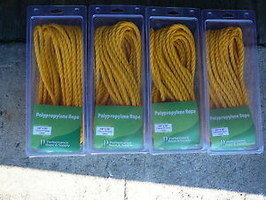 """4 Pack 3/8"""" x 50' (Total 200) 3 Strand Twisted POLY YELLOW All-Purpose Rope"""