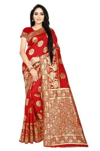 Indian Pakistani Bollywood Ethnic Banarasi sari Women Cotton Silk Red Saree Sari