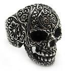 PUNK Mens Black Gothic Skull Stainless Steel Silver Flower Finger Ring 2016 Gift