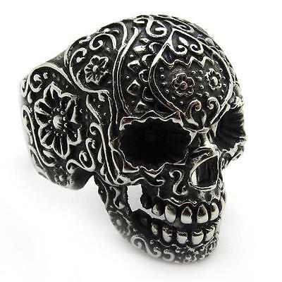 PUNK Men's Black gothic poker skull stainless steel silver flower finger ring