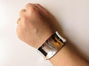 Heavy-925-Sterling-Silver-Designer-Cuff-Bracelet-31-84-g-Hallmarked-Gift-Chic