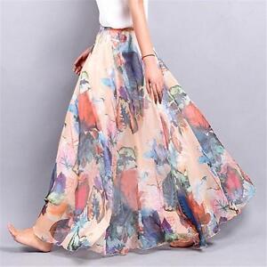 NEW-Women-039-s-Double-Layer-Chiffon-Floral-Elastic-Waist-Long-Skirt-Maxi-Dress-LG