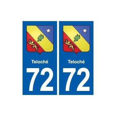 72 Teloché blason autocollant plaque stickers ville arrondis